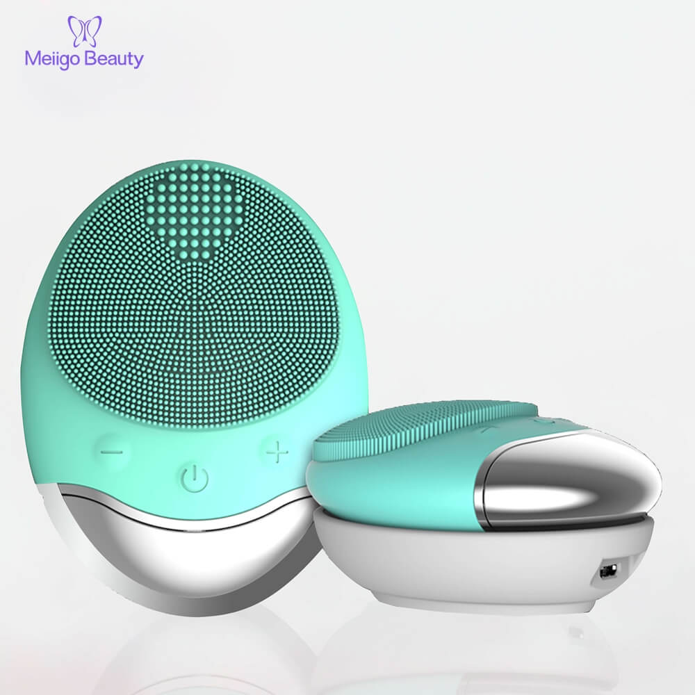Meiigo beauty BR 003 wireless charging silicone face brush 7 001 - Sonic facial cleansing brush silicone vibrating cleanser & massager  BR-003