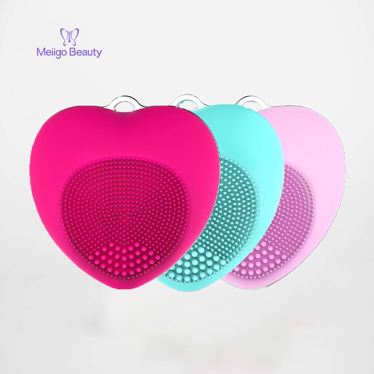 Meiigo beauty heart shape facial brush BR 002 5 - Facial cleansing brush mini silicone sonic face massager  BR-002
