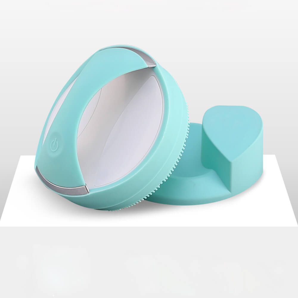 meiigo beauty BR006 silicone facial brush in green 2 - Silicone face cleansing brush for facial care BR-006