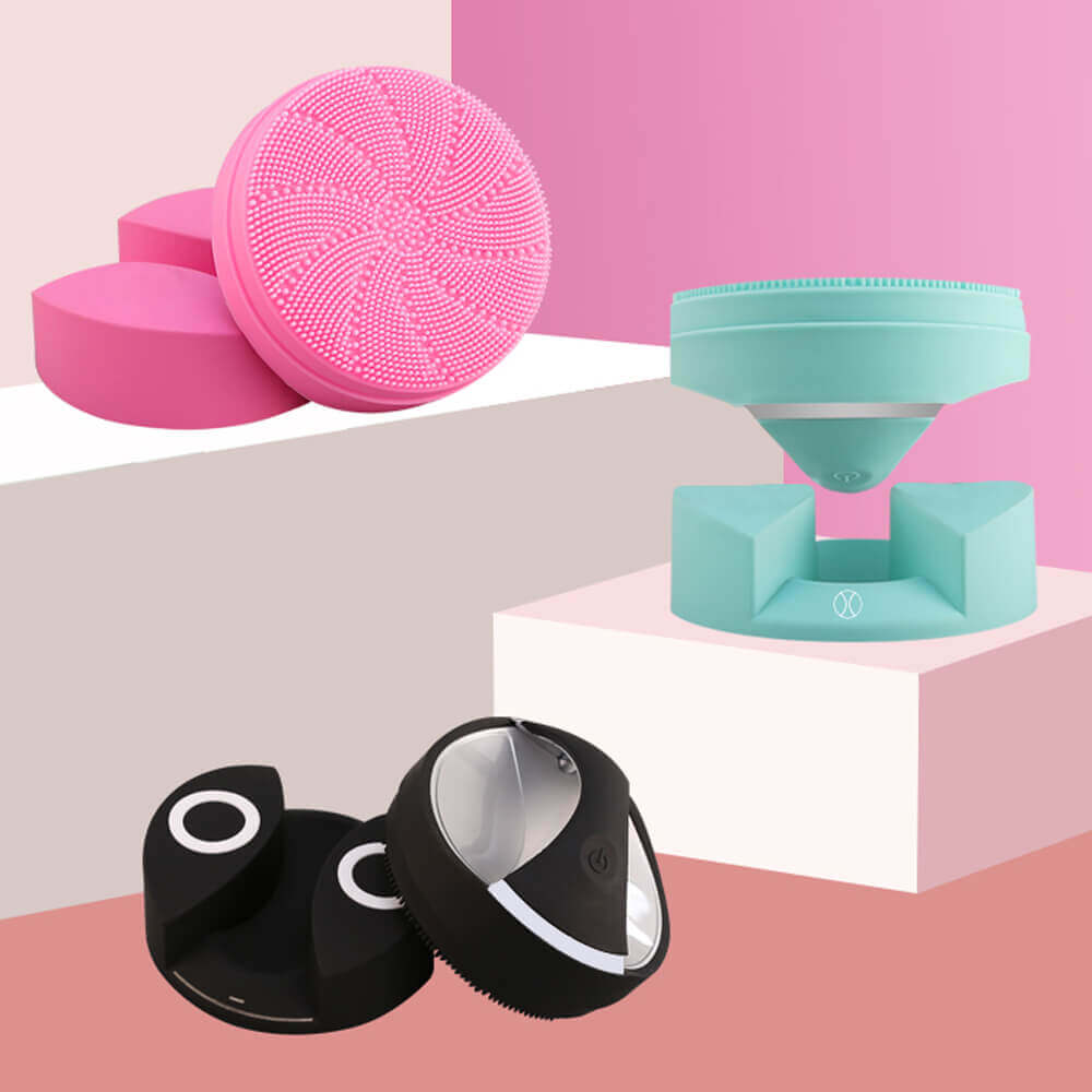 meiigo beauty BR006 silicone facial brush in three colors - Electric silicone sonic facial cleansing brush for deep cleansing BR-006